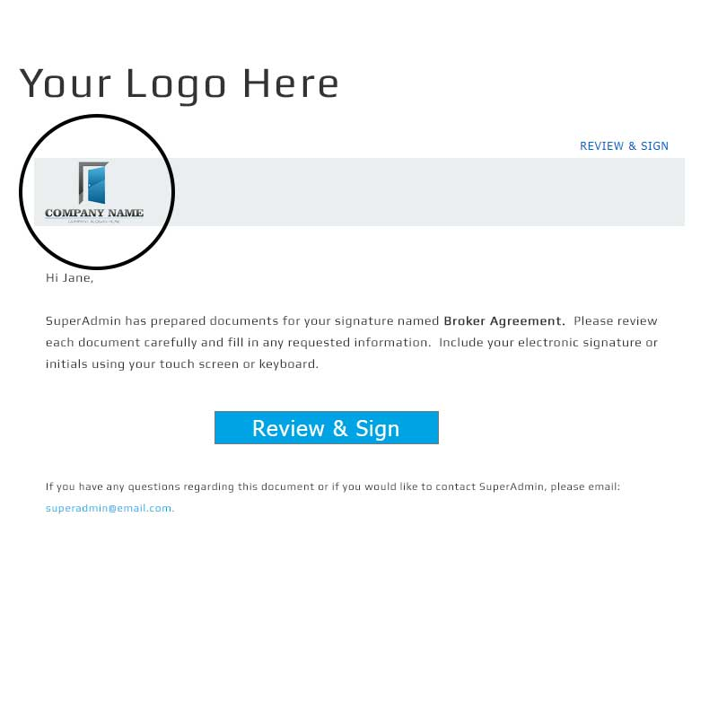 signature request email with Your Logo Here
